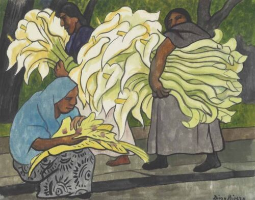 Diego Rivera Loading The Lilies Canvas Print 16 x 20   #3627