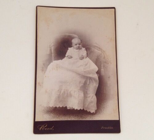 Antique Photo Baby in Gown Cabinet Card Reed Franklin MA Vintage