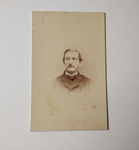 Antique Photo CDV Tax Stamp 2 Cent Man Carte de Visite Card