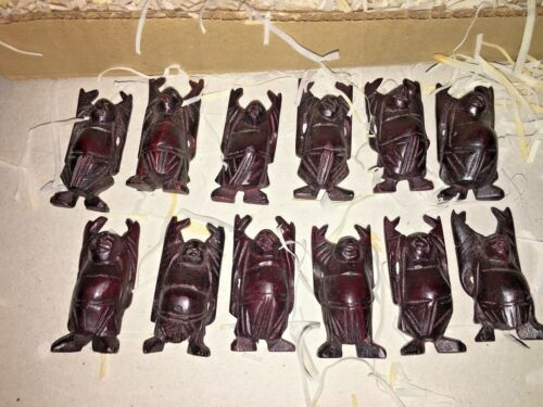 """12 VINTAGE WOOD CARVED 2"""" BUDDHA STATUE TAIWAN ~  NOS NEW"""