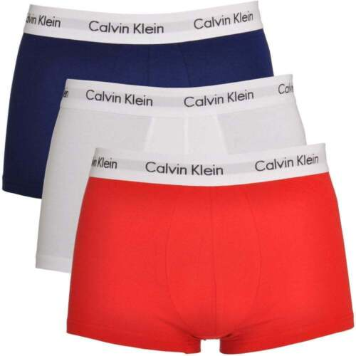 Calvin Klein Mens 100% Authentic CK 3 Pack Low Rise Trunk Boxer White/Red/Navy <br/> ORIGINAL**SAME DAY DESPATCH ** BRAND NEW SEALED PACK