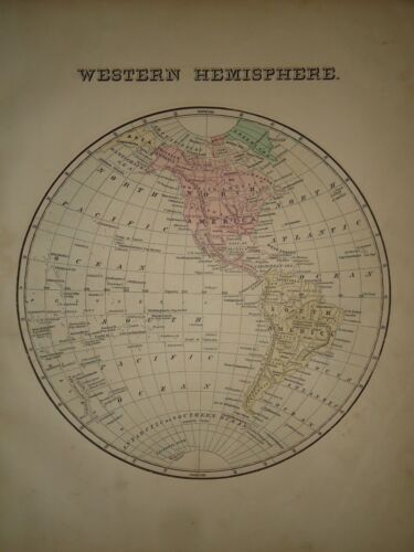 Antique 1856 Hand Colored EAST WEST HEMISPHERES MAP Old Authentic Vintage