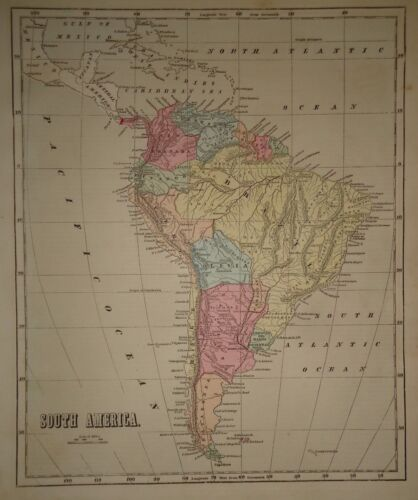 Antique 1856 Hand Colored SOUTH AMERICA MAP Old Authentic Vintage Atlas Map