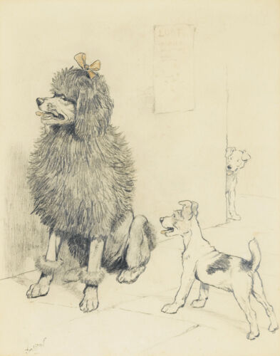 Aldin Cecil French Poodle And Admirers Print 11 x 14    #5330