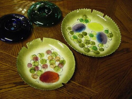 PAIR OF SIGNED JERE ASH/BOWLS LARGE AND SMALL ENAMELED