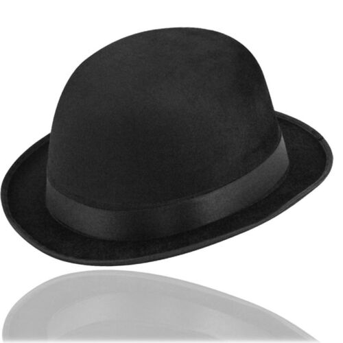 Black Bowler Hat Posh for Stag Night Charlie Chaplin Victorian Fancy Dress QR17