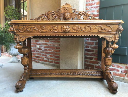 Antique FRENCH Carved Bleached Oak Console Sofa TABLE Dolphin Gothic Renaissance