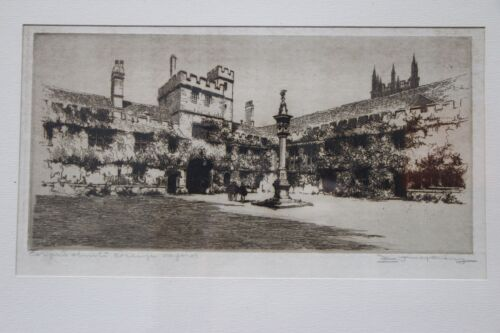 Antique original signed artwork Oxford College engraved signed Maybery etching