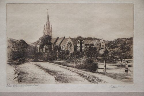 """Original antique etching """"The Church"""" framed print 1915 signed Dickens gothic"""