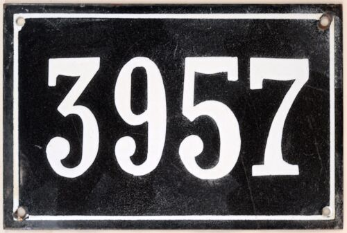 Large old black French house number 3957 door gate wall plate enamel metal sign