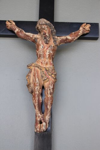 Antique  original 18th century crucifix carved gilt polychrome Christ sculpture