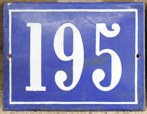Large old French house number 195 door gate plate plaque enamel steel metal sign