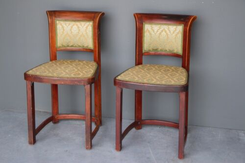 Pair original antique Art Deco Biedermeier revival chairs stamp THONET Vienna