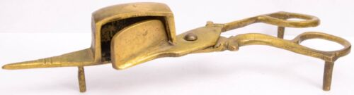 Antique Victorian Brass Candle Wick Trimmer Snuffer 19th Century