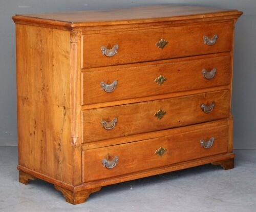 Big antique Georgian chest of drawers late 18th century solid oak brass handles