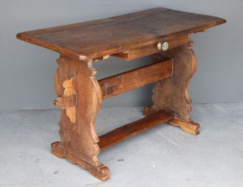 Antique 16th century oak Refectory Table desk patina 2 plank top ornate carved