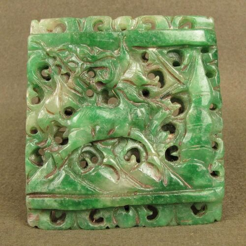 """3.4""""CARVED GREEN CHINESE ANTIQUE JADEITE JADE MYTHICAL BEAST PENDANT DECORATION"""