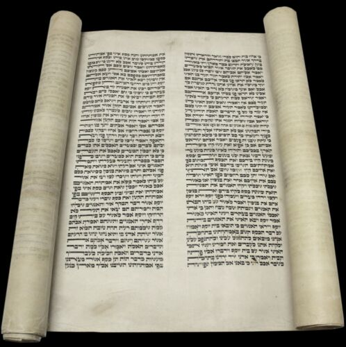 LARGE VELLUM TORAH BIBLE Genesis SCROLL MANUSCRIPT 150 YRS EUROPE