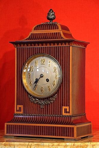 Big antique Regency English mantle clock gilt ormolu marquetry Chippendale 1900s