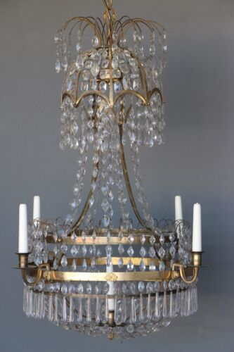 Rare antique 1790's ormolu chandelier original crystals gilt bronze Gustavian