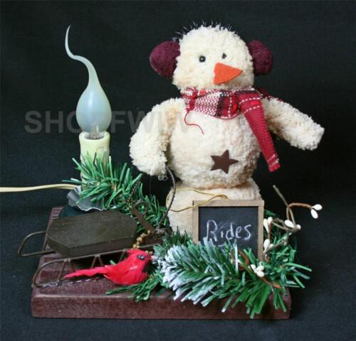 Amish Artist-Made Primitive Snowman Earmuffs, Sled Electric Candle Made In USA
