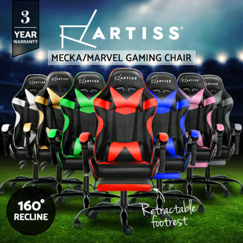 Artiss Gaming Chair Office Executive Computer Chairs Footrest Racing Recliner <br/> Blue,Red,White,Gold,Green,Grey,Pink / 3-Year Warranty