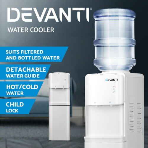 Devanti Water Cooler Dispenser Stand Hot Cold Tap Bottle Filter Purifier Office <br/> ✔Hot/Cold Water ✔Child Lock ✔Smart Water Guide Plate