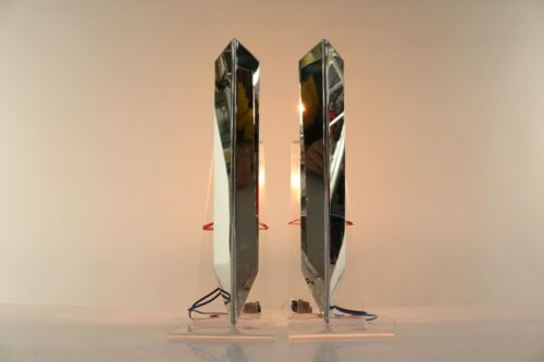 Vintage Pair Wall Sconces Lamps by J.T. Kalmar Chromed Modern Mid Century 1960's