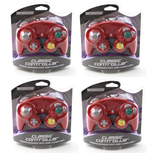 4 X Nintendo GameCube RED Rumble Controller Teknogame (Wii Wired Gamepad)