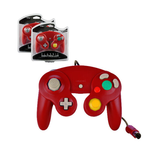 2 X Nintendo GameCube RED Rumble Controller Pad Teknogame (Wii Wired Gamepad)