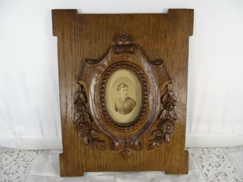 "10.5""  Antique French Large Folk Art Hand Carved Picutre Frame Oak Wood-19th"