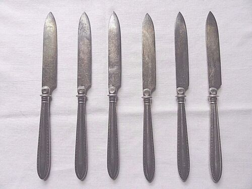 """Antique Set/6 WMF Silver Plate Fruit Knives 7""""~Made In Germany"""