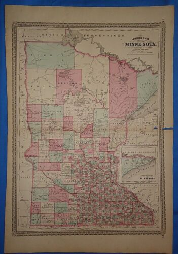 Vintage 1868 MINNESOTA MAP Old Antique Original Johnson Alas Map