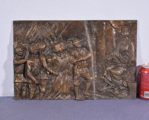 """*17"""" Antique Bronze Sculpture/Plaque/Wall Hanging with WW1 Imagery 2"""