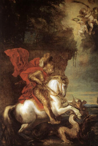 Art Oil painting Anthony van Dyck St George the Dragon in landscape Hand painted