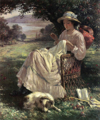Charming Oil painting young girl Knitting under the spring trees Hand painted