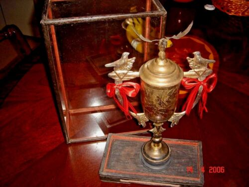 Vintage Silver Trophy with Glass Enclosure & Wood Stand, Rare!