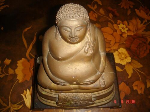 Prosperity Buddha Statuette, nicely-toned bronze, Vintage