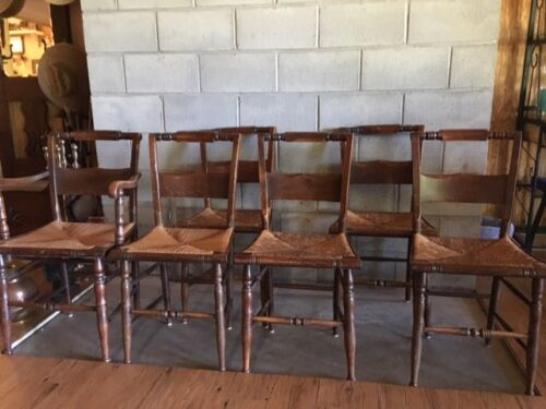 6 Antique Hitchcock Style Slat Back Chairs w/ Rush Seats 1 Captain 5 Side Chairs