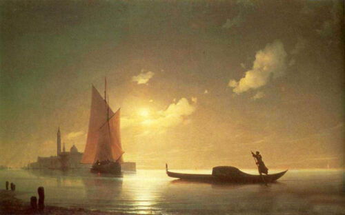 """Oil painting Ivan Constantinovich Aivazovsky - The gondolier on sea at night 36"""""""