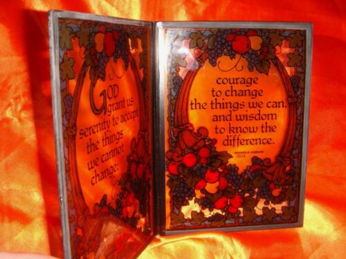 Words of Wisdom on A Pair of Vintage Glass Display Panels