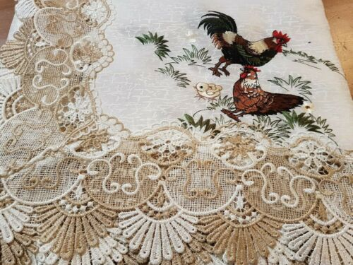 Rectangle 160*270cm 100%Premium Poyester Embroidered  Lace-Trim Rooster T/Cloth