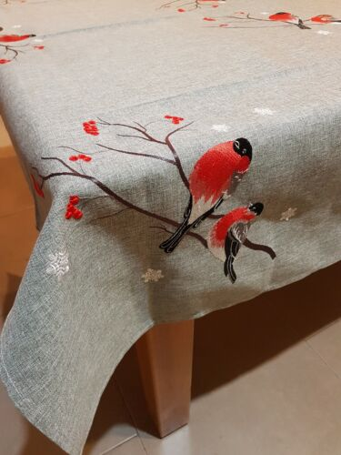 Rectangle 160*240cm Linen/Look Red Robin Premium T/cloth-OtherSizesAvailable