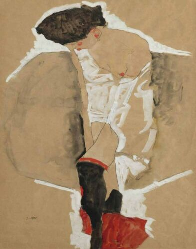 Schiele Egon Standing Female In A Shirt With Black Stockings Canvas Print #4250