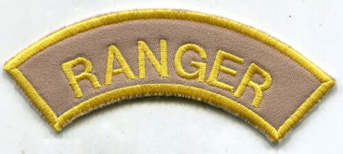US Army Ranger Yellow on Grey Large Tab Patch Patches - 36078