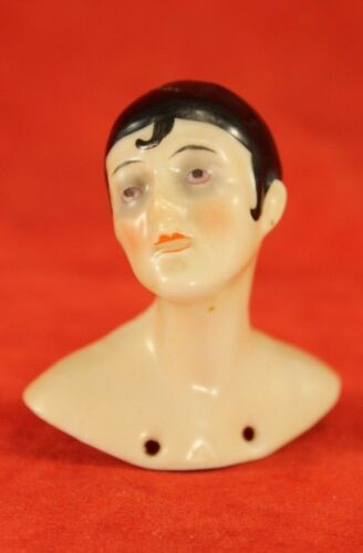 """Antique PIERROT German Porcelain 2"""" Half Doll or Pin Cushion - Germany"""