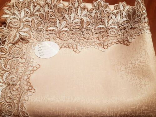 Rectangle 160*300cm 2 Toned Lace Camel/White Polyester tablecloth
