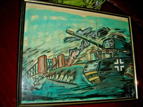 1967 ARTWORK, Tiger Tank, Water-Color Painting w/Frame