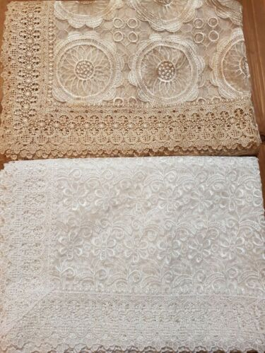 Rectangle 160*230cm Organza/Polyester Bronze or White embroidered t/cloth