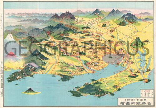 1928 OR SHOWA 3 PANORAMA MAP OF DAY TRIPS FROM TOKYO
